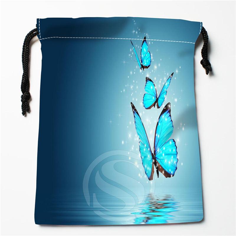 Q-56 New Butterfly FLOWER Art Custom Logo Printed  Receive Bag  Bag Compression Type Drawstring Bags Size 18X22cm Q801!V56