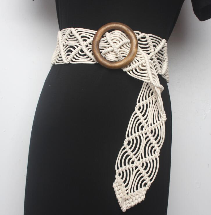 Women's Runway Fashion Knitted Cummerbunds Female Dress Corsets Waistband Belts Decoration Wide Belt R1550