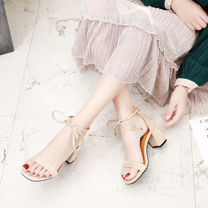Beige Black Gladiator Sandals Summer Office High Heels Shoes Woman Buckle Strap Pumps Casual Women Shoes Plus Size 34-40 n686 4