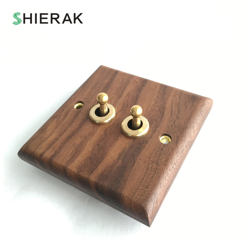 SHIERAK Classical Walnut Wood Panel Light Switch High Quality 2 Gang Wall Switch Brass Lever Toggle Switch n light 407 06 53abw antique brass walnut
