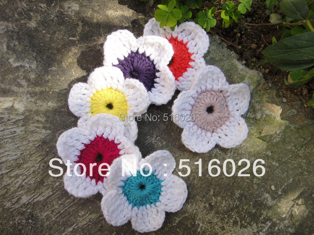 wholesale 50pcs/lot  handmade crochet flowers appliques headband flowers scrapbooking sewing trim bows boutique handcraft