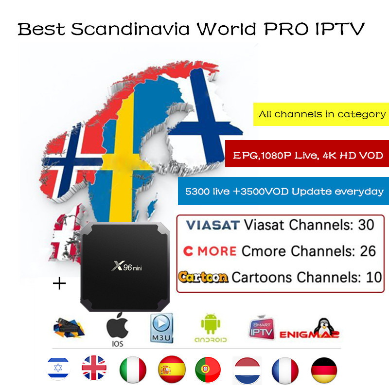 X96mini + World PRO IPTV Subscription france Arabic Israel UK Germany Spain Italy Sweden Hebrews Nordic American Brazil M3u box