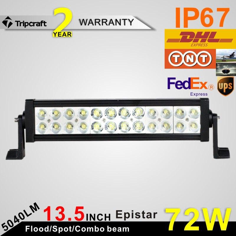 ФОТО 2Pcs 13.5Inch 72W LED Light Bar for Work Driving Boat Car Truck 4x4 SUV ATV Off Road Fog Lamp Spot Wide Flood Combo Beam 12V 24V