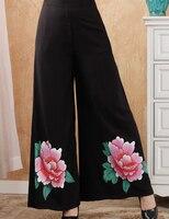 Sexy Czarne Nogi Kobiece Szerokie Spodnie Chiński Styl Drukowane Bawełniane Spodnie W Pasie Luźne Spodnie Kwiat M L XL XXL 2369-4