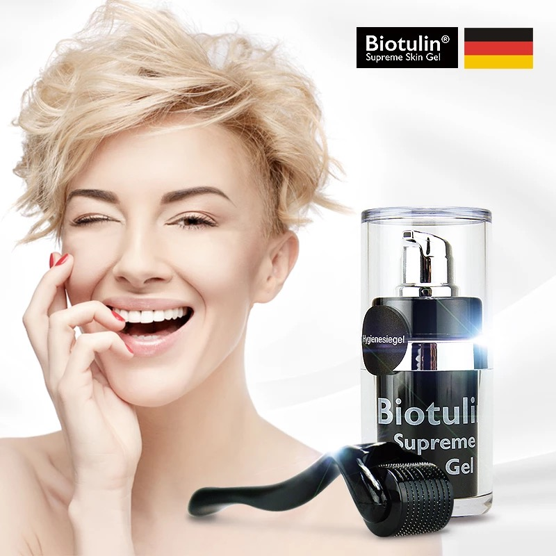 Biotulin Supre Skin Gel Treatment Anti-winkle Regeneration Skin Smoothing Collagen Serum 15ml With Micro Needle Roller MTS