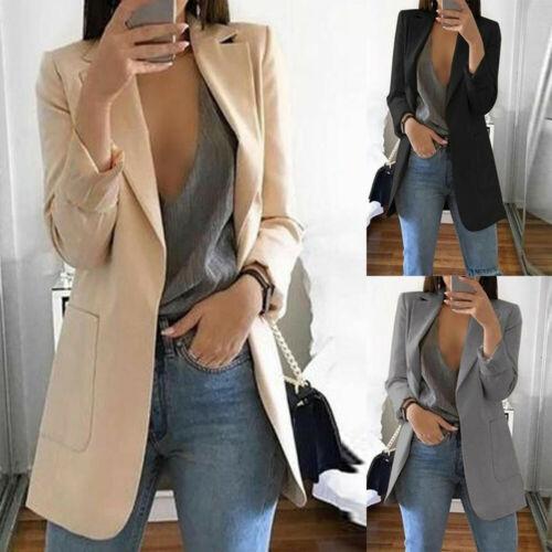 Hot Womens Long Sleeve Vintage OL Slim Fit Formal Long Blazer Spring Autumn Elegant Pocket Solid Suit Jacket Coat Casual Outwear