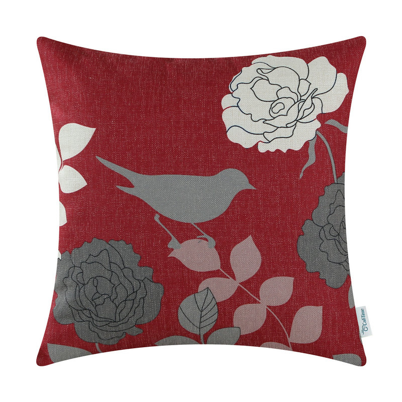 calitime cushion cover decorative pillows shell home car floral burgundy ground gray shadow bird 20 - Decorative Pillows Cheap