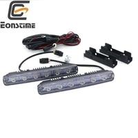 2pcslot Update 12W LED Daytime Running Light Switch Waterproof 6LED DRL Car Driving Fog Light Lamp