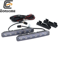 2pcslot Update 12W LED Daytime Running Light Switch Waterproof 6LED DRL Car Driving Fog Light Lamp