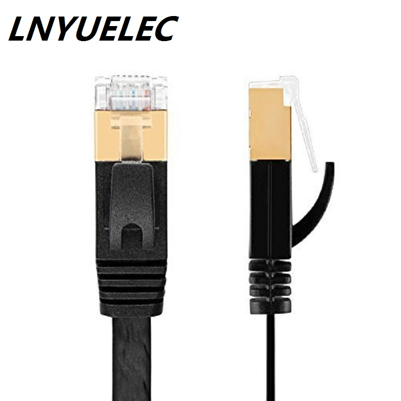 TOP Quanlity CAT.7 network cable 10m-30m RJ45 Patch flat Ethernet LAN Network Cable For Router Switch gold plated WHITE/BLACK