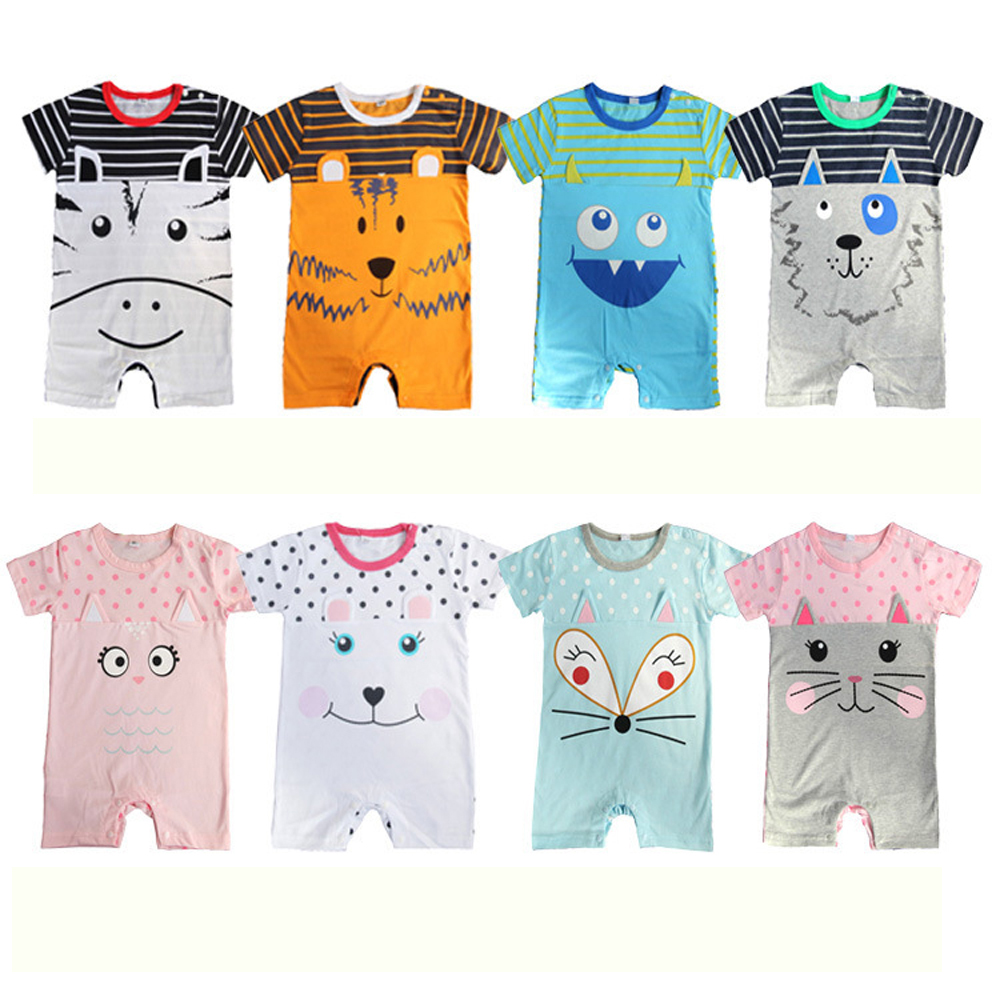 Cotton Baby Clothes Cute Infant Baby Rompers Short Sleeve Baby Jumpsuits Cartoon Animal Printed Summer Costumes For Newborn Baby baby girls boys clothing baby clothes pajamas cute cartoon 100% cotton long sleeve infant de bebe costumes baby rompers