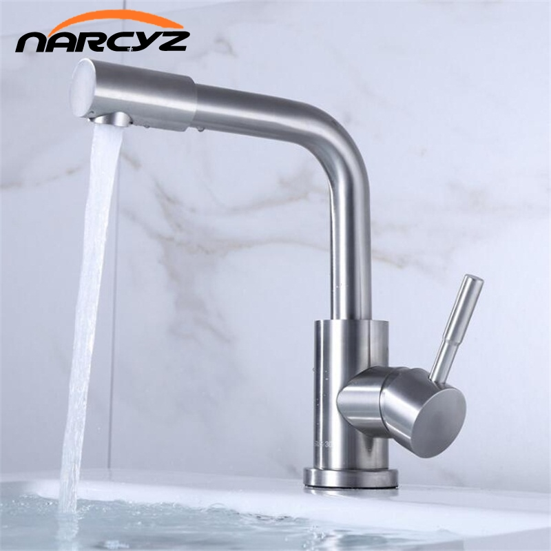 Kitchen Faucet 304 Stainless Steel Nickle Brushed Vessel Basin Sink Mixer Tap 360 Degree Swivel Spout