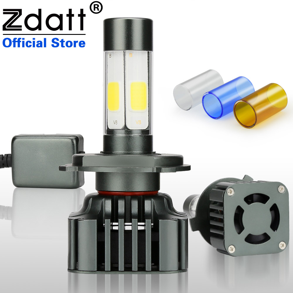 цена на Zdatt 2Pcs H4 Led Bulb H7 H8 H9 H11 9005 HB3 9006 HB4 100W 12000LM Moto Auto Headlight Canbus COB Car Led Light 12V Automobiles