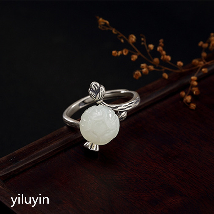 Audacious Kjjeaxcmy Boutique Jewelry S925 Pure Silver Antique Mosaic And Tian Yu White Jade Rose Lady Opening Silver Ring Soft And Light Rings