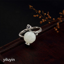 KJJEAXCMY boutique jewelry S925 pure silver antique mosaic and Tian Yu White Jade Rose Lady opening Silver Ring s925 pure silver wholesale contracted only beautiful lady topaz st2018 set of chains pure and fresh and euphemism