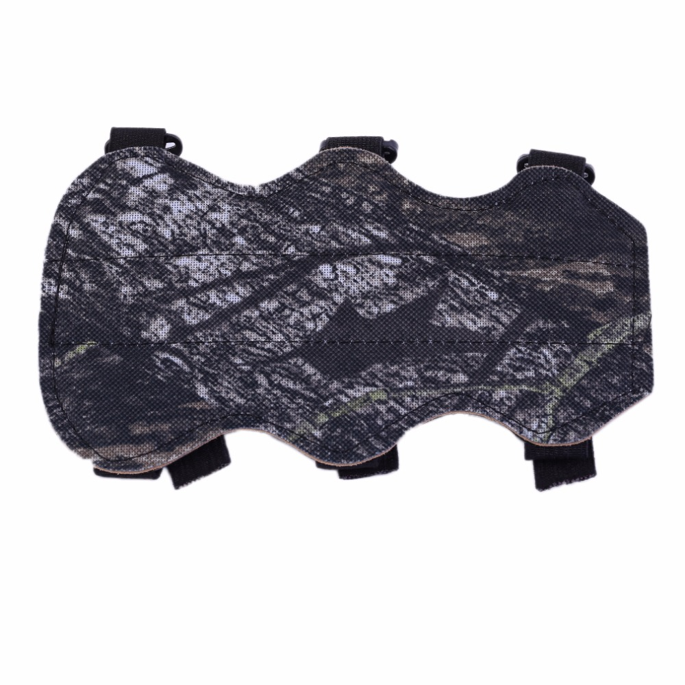 Archery Bow Arm Guard Protection Forearm Safe 3-Strap Camo Leather New