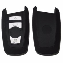Black 4 Buttons Silicone Key Cover Case Fit For BMW X1 X5 X6 BMW 3 5 7 Series Smart Remote Car Key Cover Silicone Key Shell
