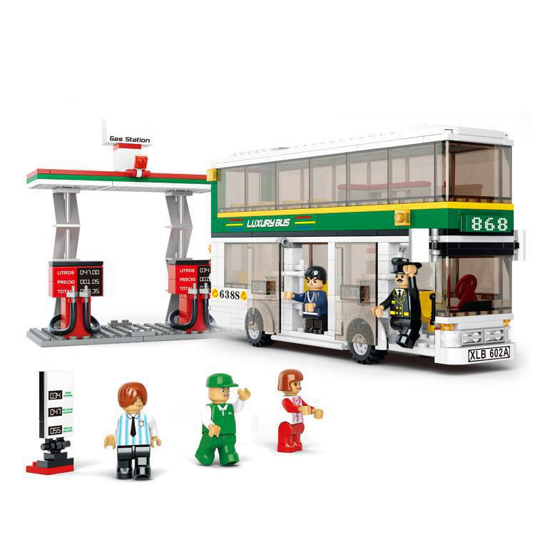 Bohs plastic building blocks single double deck school
