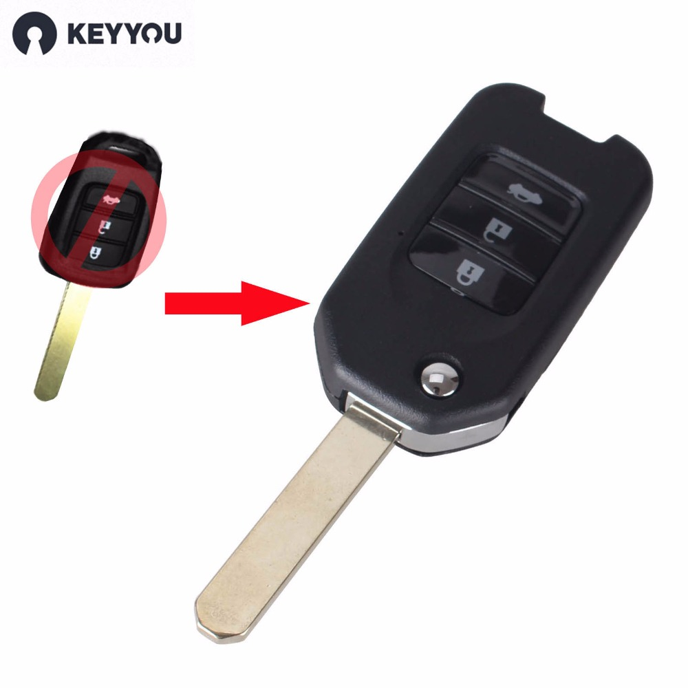 Keyyou 3 buttons flip folding keyless remote key case fob for honda fit vezel xrv city odyssey key shell