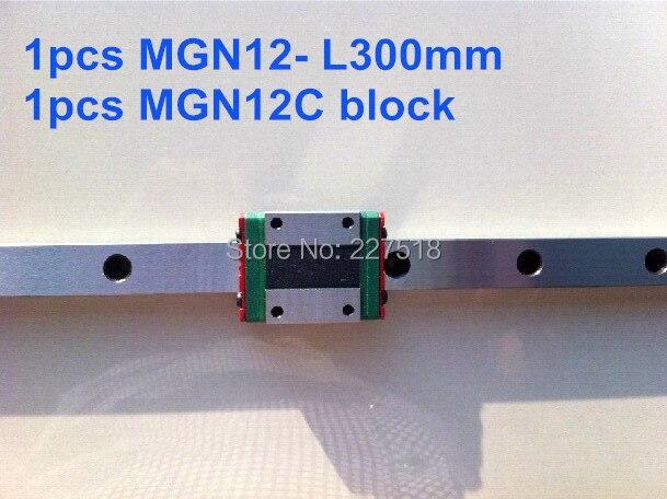 1pcs MGN12  L300mm linear rail  + 1pcs MGN12C 1pcs mgn12 l150mm linear rail 1pcs mgn12c