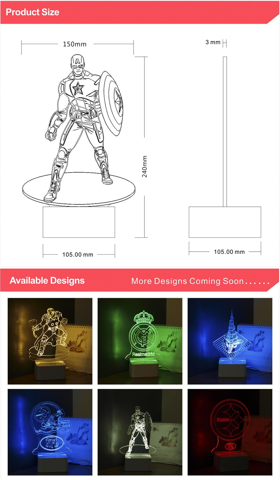 Novelty for American Captain 3D Iluminacion Led Dimmable Touch Table Lamp Desk Nightlights (5)