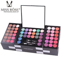 MISS ROSE 144 Colors/Set Eyeshadow with 3 Color Blush 3 Color Eyebrow Makeup Shimmer Matte Glitter Diamond Pigment Eye Shadow