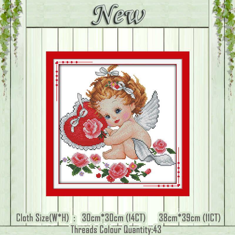Amorek cherubin i dove anioł malarstwo policzone drukowane na płótnie DMC 11CT 14CT zestawy DIY Cross Stitch haft robótki zestaw