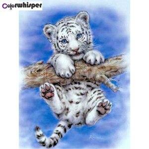 Алмазная картина, полностью квадратная/круглая картина, милый белый тигр, Детская вышивка, мозаика стразами, крест, Sititch 335DP