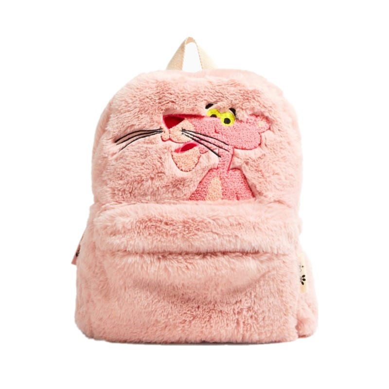 Cute Cartoon Pink Panther Plush Backpack for Woman Girls Pink Panther School Bags Pink Leopard Backpack for Children Grils Gifts