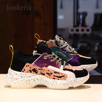 Jookrrix 2019 Women Dad Chunky Shoes New Spring Sneakers Lady Girls Genuine Leather Casual Shoes Woman Patchwork Ladies Footware