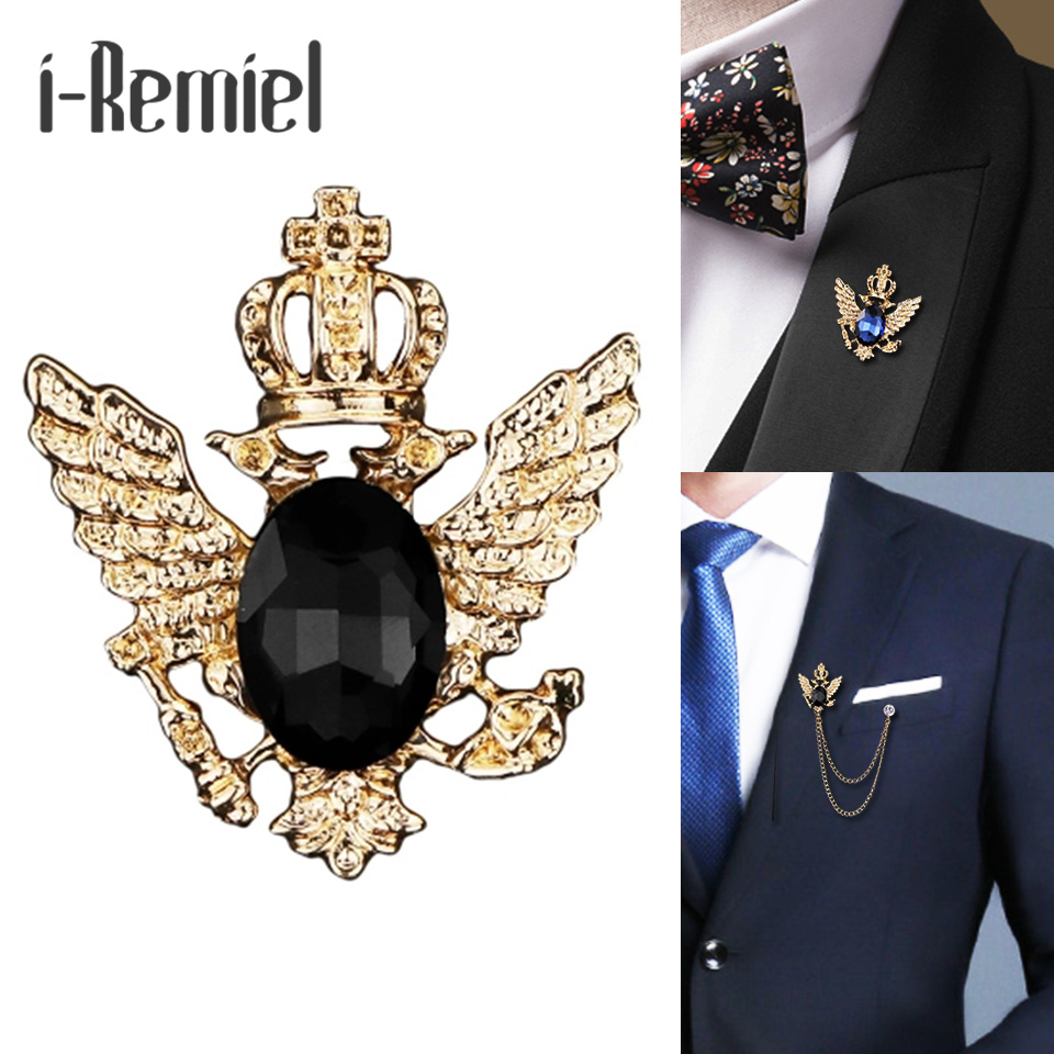 i-Remiel small suit crown brooch crystal chain badge pin