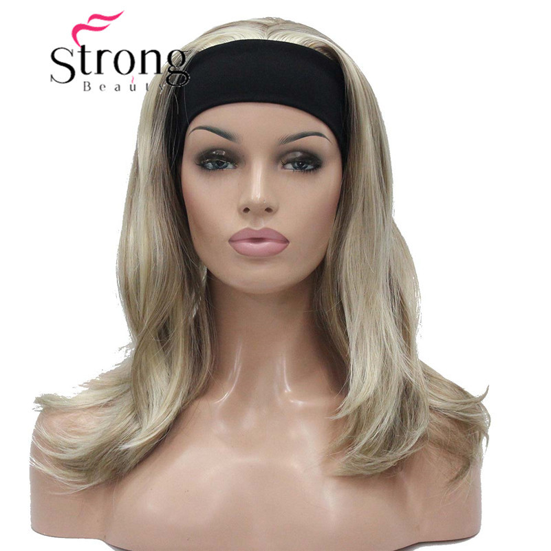 StrongBeauty Medium Blonde Highlights Natural Slight Waves Heat Ok Synthetic HEADBAND Wig COLOUR CHOICES