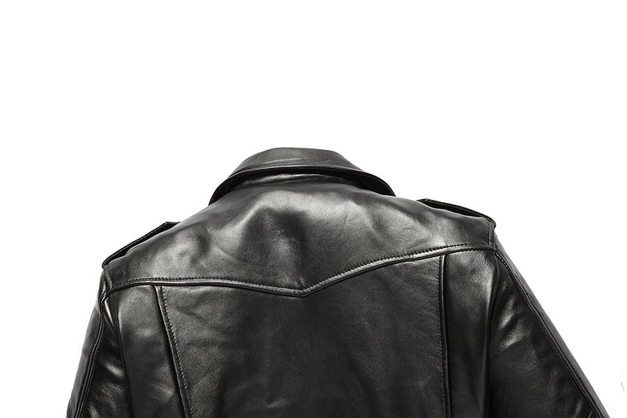 Free shipping.brand new black mens sheepskin jacket.classic biker soft genuine leather coat.fashion plus size style slim jackets