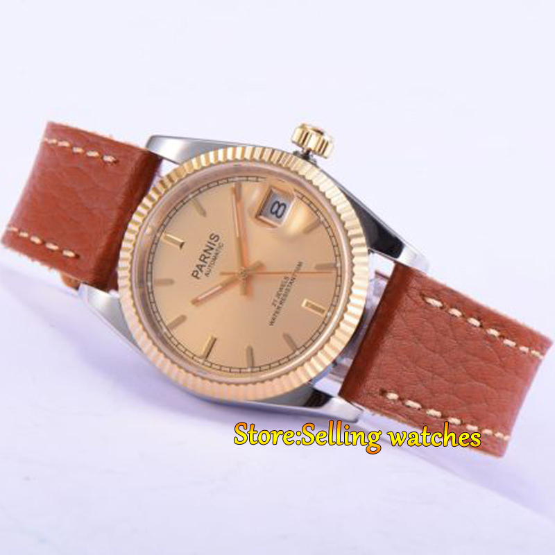Parnis 36mm gold dial date Luminous sapphire glass leather strap 21 jewels MIYOTA Automatic movement Men's watch 36mm parnis dial luminous date window deployment clasp sapphire glass 21 jewels miyota automatic movement women s wristwatch