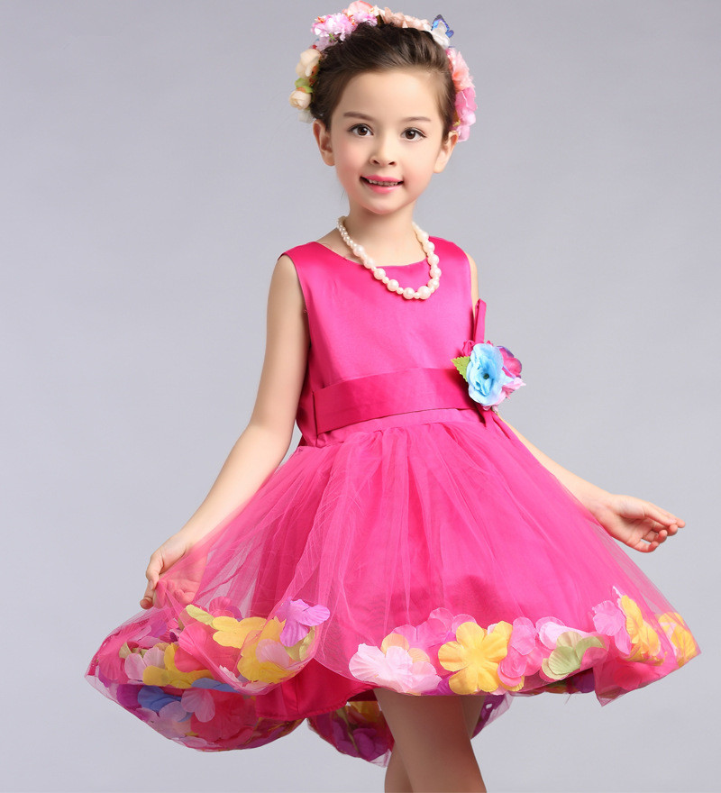 Hermosa Roseo niñas Vestidos niños flor chica Vestidos 2018 moda ropa para  3 4 5 6 7 8 9 10 11 12 t AKF164107 f6d25a857ce4