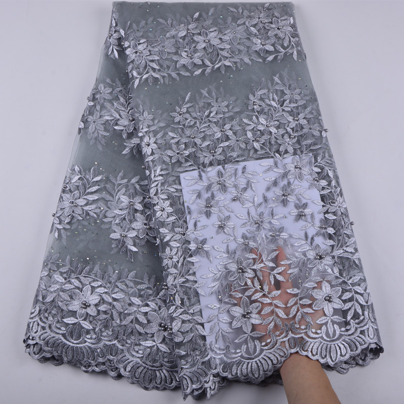 2018 New Styles African French Net Lace Fabric With Stones Embroidery Design Nigeria Tulle Lace Fabric