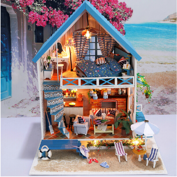 New Arrive Diy Wooden Large Doll House villa Model Building 3D Puzzle Handmade Dollhouses Miniature Birthday Gift Toy-Aegean sea led car daytime running light drl bumper with turn off and dimming relay front fog lamp for ford focus 3 2012 2013 2014 12v