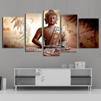 5 Pcs/set 100% Hand-painted Handsome Budha Art Decoration Oil Painting On Canvas Wall Pictures For Living Room