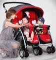 2017 Nova Chega Gêmeos Carrinhos para gêmeos Do Bebê Carrinho De Criança Dobrável Portátil À Prova de Choque de Alta Paisagem Carrinho de Bebê Gêmeos C01