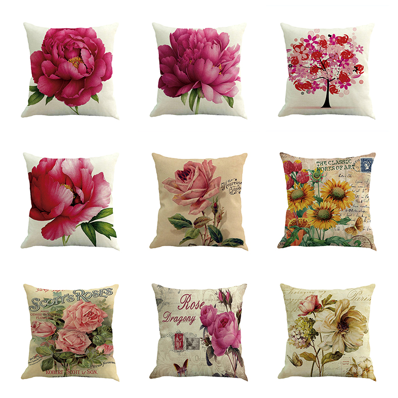 Love Flower Cotton Linen Pillow Cover Throw Pillow Case Vintage Home Car Decorative Pillowcase Sofa Cushion Covers