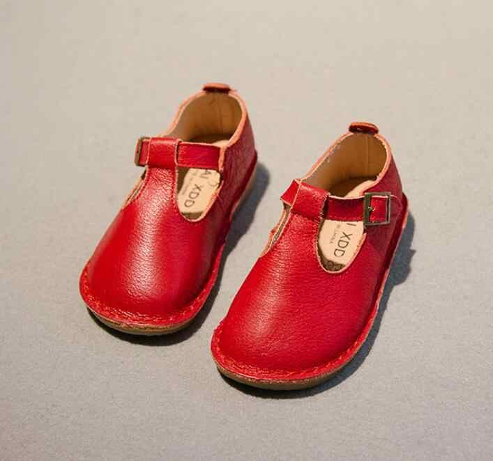 Voorjaar Nieuwe Kinderen echt lederen schoenen kinderen sneakers vintage stijl zachte zool prinses meisjes enkele schoenen