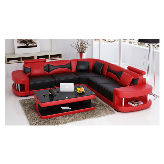 Wholesale living room furniture cheap leather corner sofa set 7 seater sectional sofa with Led light