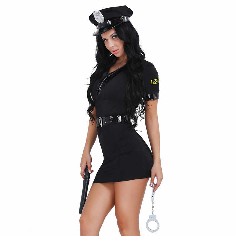 547d4ef0e64 ... YiZYiF Women s Sexy Police Uniform Officer Set Policewoman Halloween Costume  Dress with Handcuff Movie Role Play ...