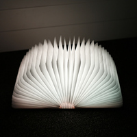 Original USB Rechargeable LED Folding Light Book Shape Night Lamp Wooden Magnet Cover Home Table Desk Cool White 2018 1PCS New