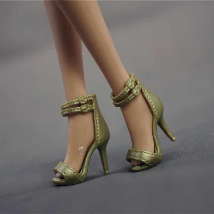 1 par para barbie acessórios sapatos de salto alto princesa sapatos de cristal em casa as crianças brincam brinquedo barbie sapatos acessórios de lote