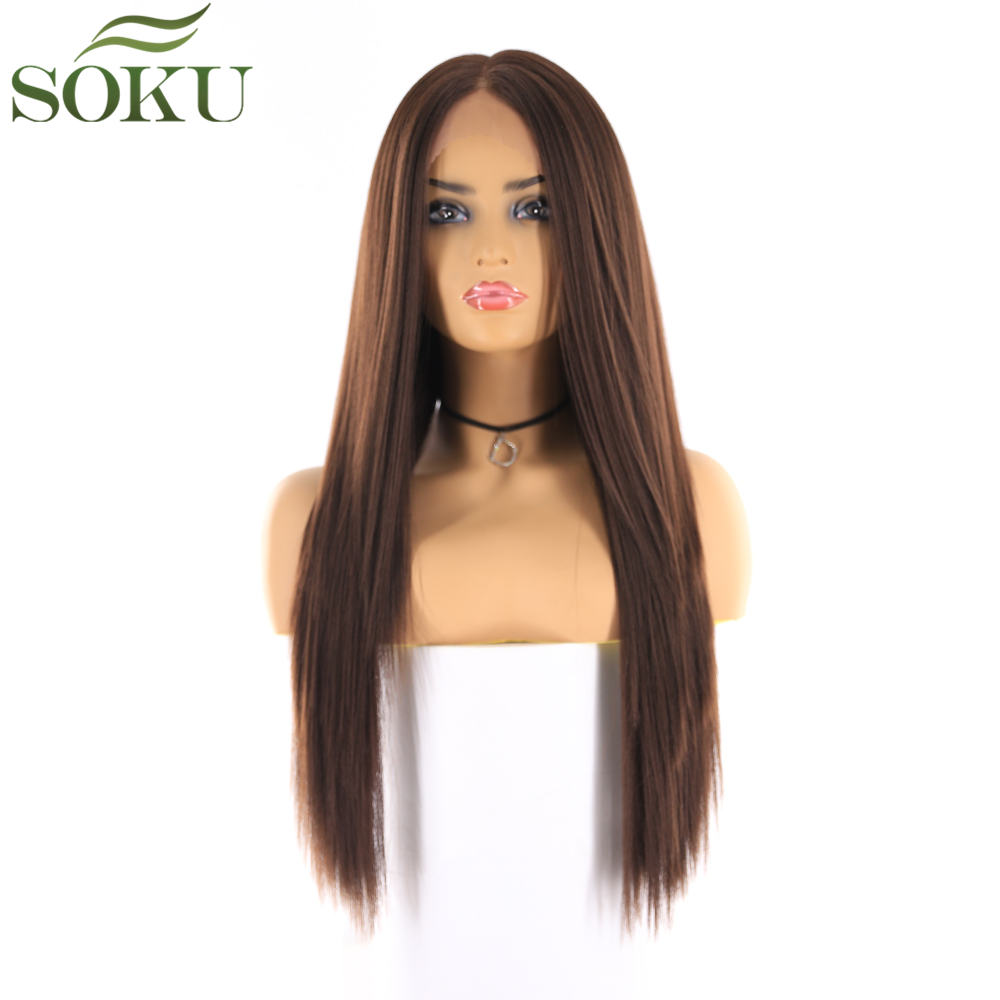 Synthetic Lace Front Wigs Long Straight Middle Part Wig SOKU 130% Density Glueless Heat Resistant Fiber Wigs For Black Women-in Synthetic Lace Wigs from Hair Extensions & Wigs
