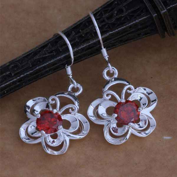 AE015 925 sterling silver earrings , 925 silver fashion jewelry , colorful butterfly inlaid red stone /brkakira akzajcga