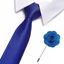 New Solid  formal Triangle Striped Ties Normal Sharp Corner Neck Men Classic Woven Designer Cravat free brooch