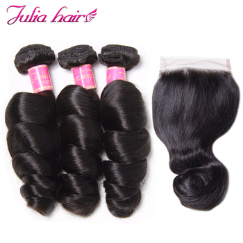 Ali Julia Hair Loose Wave Hair Bundles With Closure 3 Or 4 Bundles With Closure Brazilian Remy Human Hair
