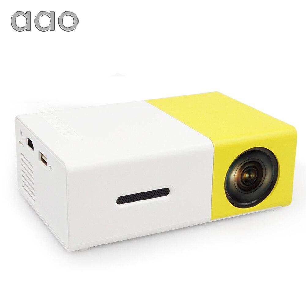 AAO YG300 YG310 Мини Портативный светодио дный светодиодный мини-проектор для домашнего кинотеатра игры Beamer видео плеер с SD HDMI USB динамик батарея ...